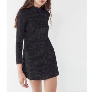 NWT UO Sofia Sparkly Mock-Neck Sweater Dress Red
